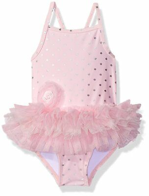 Little Me Baby Girls One Piece Tutu Swimsuit, Pink, 18 Months