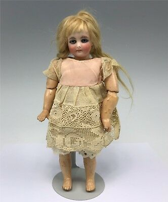 """Tiny Petite 9"""" Sonneberg Antique Bisque Doll Spiral Threaded Eyes Closed Mouth"""