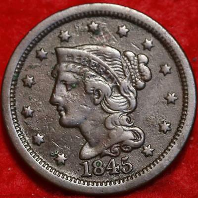 1845 Philadelphia Mint Copper Braided Hair Large Cent Free S/H