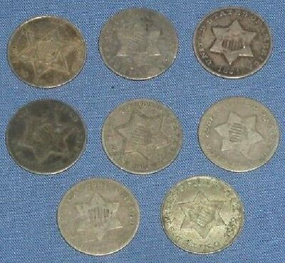 Collection 8 Us Silver Three 3 Cent Coins 1851, 1852, 1853, 1854, 1859 & 1861