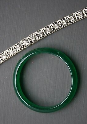 Vintage Chinese Apple Green Jade Bangle And Chinese Silver Bracelet