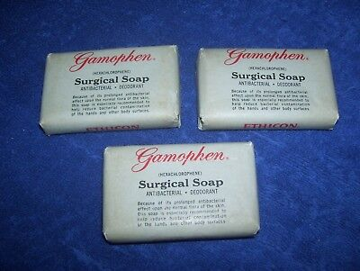 3 Vintage 2oz. Bars of Ethicon Gamophen Surgical Soap Antibacterial Deodorant