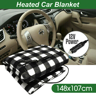 Electric 12V Heated Car Blanket Travel Rug Soft Caravan Fleece Volt Camping AU