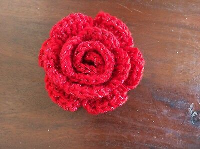 1 SPARKLING RED CROCHET ROSE - 8.5 cm EMBELLISHMENT FOR HATS ETC