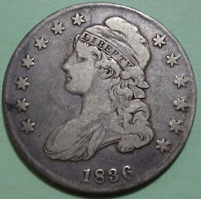 1836 Capped Bust Half Dollar Lettered Edge 90% Silver Coin Fine Condition