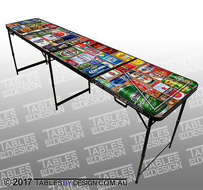 'Beer Cans' Beer Pong Table (2.4m L x 0.6m W x 0.76m H) + 12 balls