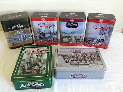 5 ANZAC 'LIMITED EDITION' BISCUIT TINS Bulk Lot!
