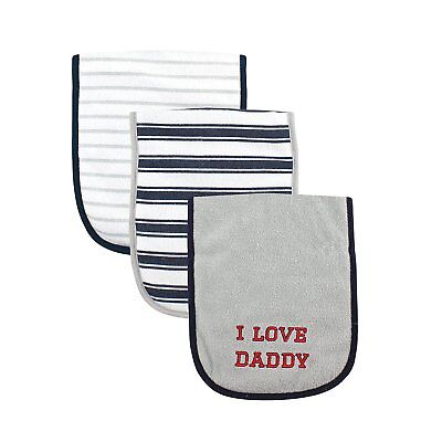 Luvable Friends 3 Piece Burp Cloth with Fiber Filling for Boys, I love Daddy