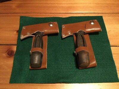 Lot Of (2) vintage axe head with leather sheath Cast Iron Heavy Camping Knife