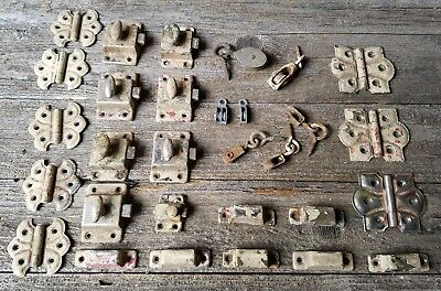 Antique Lot Cabinet Hardware, Butterfly Hinges, Latches & Tiny Vintage Pulleys