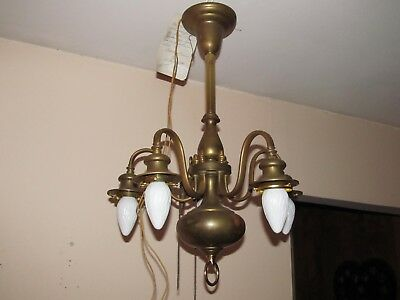 French 20's 5L Antique Chandeliers Vintage Brass Chandeliers Home & Garden Rare
