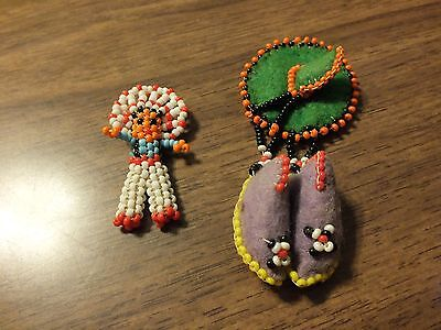 Vintage Native American INDIAN Beaded Brooch / Pin and Doll Charm