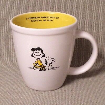 HALLMARK Peanuts SNOOPY & LUCY Yellow White Mug - If Everyone Agreed With Me...