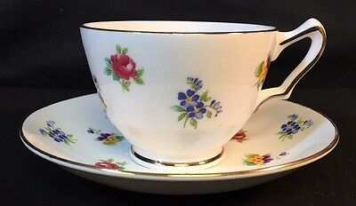 Crown Staffordshire English Fine Bone China Teacup & Saucer Floral & Gold Trim