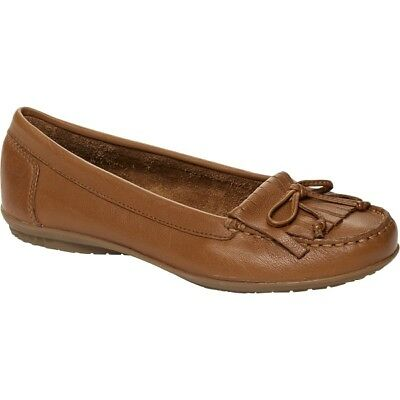 8afac01ab94 Hush Puppies CEIL MOCC Ladies Womens Leather Slip On Comfy Loafer Flat  Shoes Tan