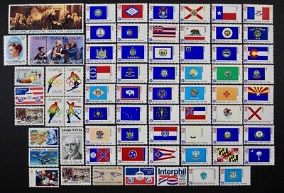 US 1976 Commemorative Year Set collection, 71 stamps with 50 Flags Mint NH