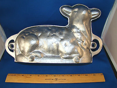 "Lamb Cake Mold Cast Metal VINTAGE ANTIQUE 12.5"" Two Piece Stamped ""MAL"" ""N"" @1B"
