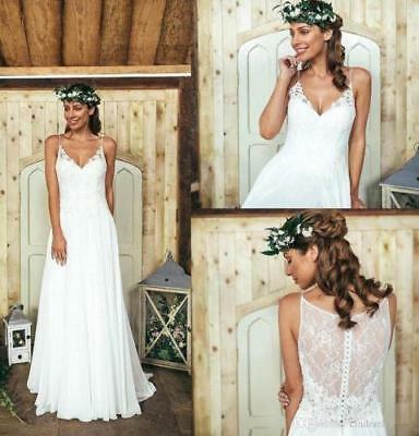 New Simple Lace A Line Bridal Gown White Ivory Beach Wedding Dress Size 2 16 A70