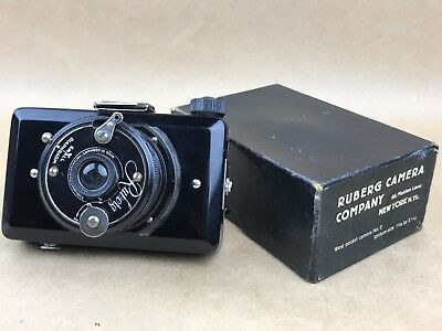 Ruberg Vintage 1930s Art Deco Camera All Black Made in Germany with Box