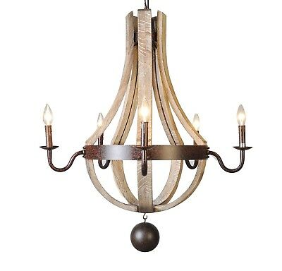 "French Country Wood Metal Wine Barrel Chandelier Pendant 5 Lights Rh 30"" ... New"