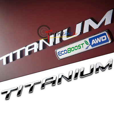 (1) Car Rear Side TITANIUM Decal Emblem Badge Sticker for Ford Kuga Escape Focus