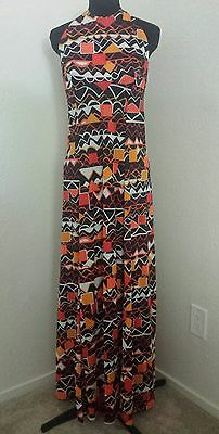 VTG 70s Speedo Juniors Large Maxi Dress Womens Orange Black Cover Up Psychedelic
