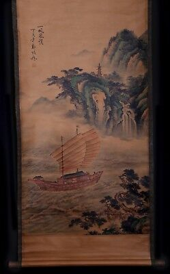 Exquisite Rare Chinese Scroll Hand Painting Landscape Marked Zheng Banqiao KK606