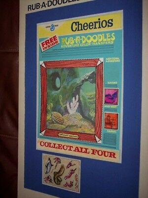 CHEERIOS cereal box original art rub-ons transfer deep sea diver frogman 1970s?
