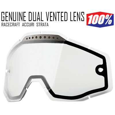 100% MOTOCROSS ENDURO GOGGLE GENUINE DUAL CLEAR LENS fit Racecraft Accuri VENTED