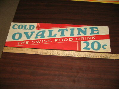OVALTINE cold 1930s deco store soda fountain display sign banner RWB,Swiss food