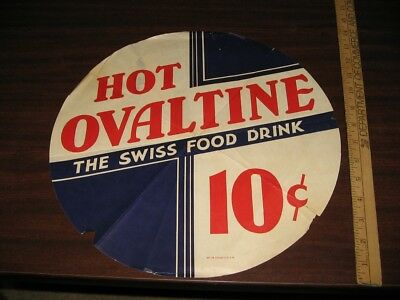 OVALTINE 1930s paper store soda fountain display sign,hot Swiss food drink mix