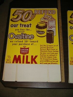 OVALTINE 1960s MILK OFFER 50 cents grocery store display sign CREAM CREST