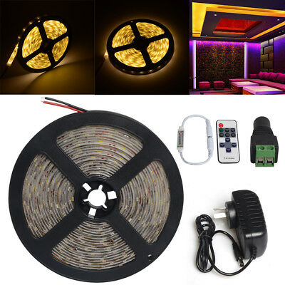 5M 300 12V LED Light Strip Warm White StickyTape 2835 Cabinet Kitchen Lighting