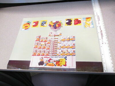 Kelloggs cereal box store display salesman sheet 1960s FRUIT BOWL single serve