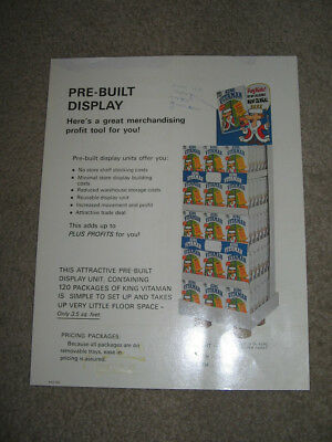 cereal box KING VITAMIN 1970 Quaker store display salesman ad sheet proof