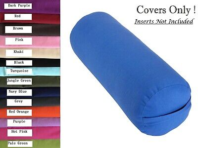 Cotton Yoga Bolster Cover + Insert Case Fit Standard Bolster 75 x 25cm Diameter