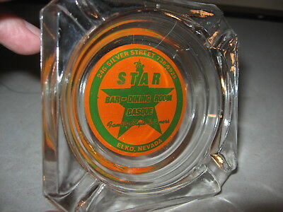 Vintage 1960s Advertising Ashtray The Star Bar Dining Room Basque Elko Nevada