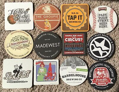 Lot Of 12 Beer Coaster Groupie Tap It Independent Madewest Last Call Strike