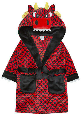 Boys 3D Dragon Dressing Gown Novelty Character Kids Hooded Bath Robe Gift Size
