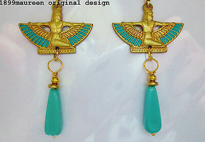 Egyptian Revival Art Deco earrings 1920s vintage style Art Nouveau turquoise