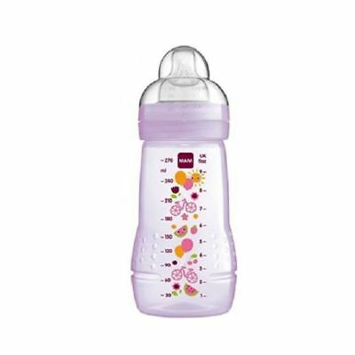 Mam 270ml Child Baby Feeding Bottle Pink Silk Medium Teat 2+m 1 2 3 6 12 Packs