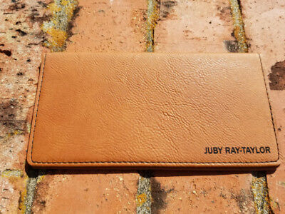 Personalized Rawhide Colored Leather Checkbook Cover