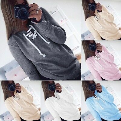 Women Lace Up V Neck Long Sleeve Casual Loose Top T Shirt Sweatshirt Blouse Tops