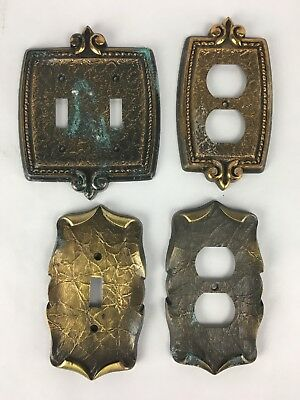 Vintage Brass Electrical Plates Set of 4 Different Sizes