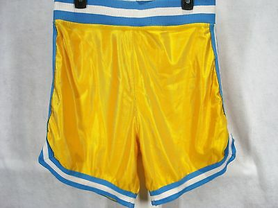 Vintage Betlin Mens XL L Gym Shorts Satiny Yellow with Blue and White Trim