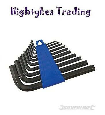 Silverline 10pc T-Handle Metric Allen Hex Wrench Key Set Stand Alan Allan New