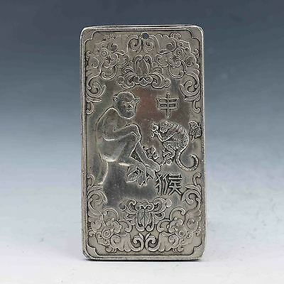 Tibet Silver Hand-carved Chinese Zodiac Pendant Statue -Monkey G865