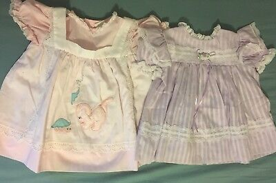 Lot Of 2 Vintage Baby Dresses 12 mo Brynn Nanette lace apron pink purple