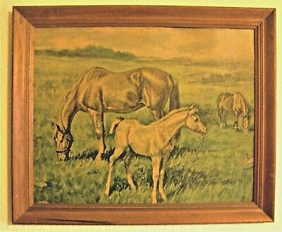 """Vintage Signed Ole Larsen Painting Horse Equine Mare foal 23"""" x 19"""" Litho USA"""