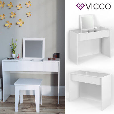 White Dressing Table Vanity Makeup Desk with Mirror White High Gloss Cosmetic